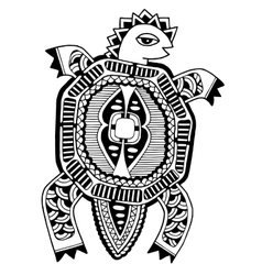 ink drawing of tortoise ethnic pattern black and vector image vector image