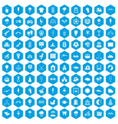 100 childrens playground icons set blue vector image vector image