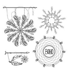 Boho Style Frames logos and hand vector image vector image