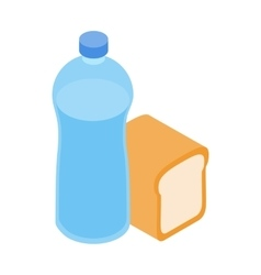 Bread and water for refugees icon isometric style vector image vector image