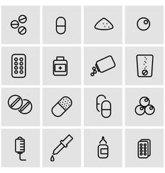 line pills icon set vector image