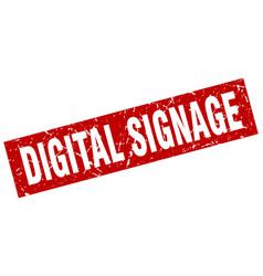 Square grunge red digital signage stamp vector