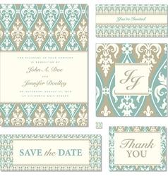 Victorian wedding invitation set vector
