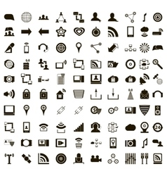 100 office icons set simple style vector image