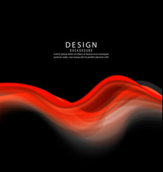 abstract color red wave design element on black vector image