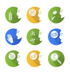 Allergies flat design long shadow glyph icons set vector