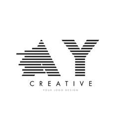 Ay a y zebra letter logo design with black vector