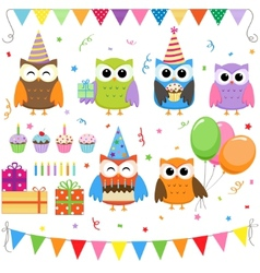 Birthday party owls set vector