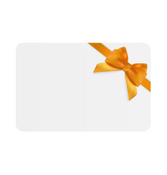 Blank gift card template with orange bow and vector