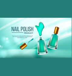 bottle of green nail polish cosmetic banner vector image