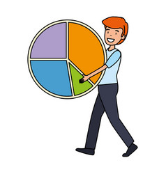 Businessman lifting statistics infographic pie vector