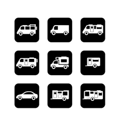 Camper car black icons set vector