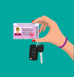 car driver woman license car keys in hand vector image