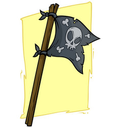 Cartoon black pirate flag with skull vector