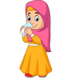 Cartoon muslim girl drinking water vector