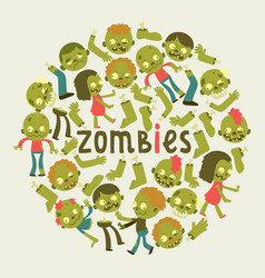 cartoon zombie pattern halloween scary vector image
