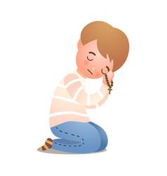 Catholic christianity little boy offer prayer to vector
