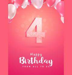 celebrating 4 years birthday 3d vector image