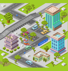 City parking lot isometric 3d vector