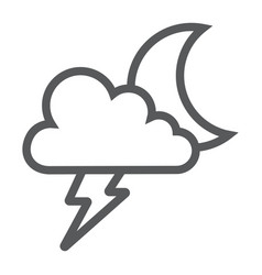 cloud and lightning line icon forecast and vector image