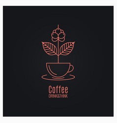 coffee cup logo coffee branch concept on black vector image