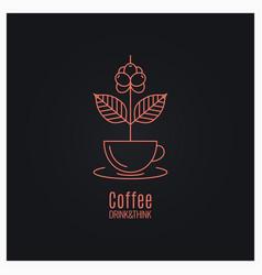 Coffee cup logo coffee branch concept on black vector