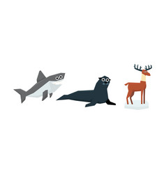 collection cute geometric animals shark fur vector image