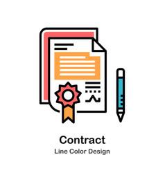contract line color icon vector image