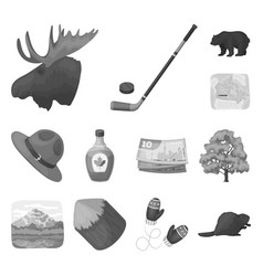 Country canada monochrome icons in set collection vector