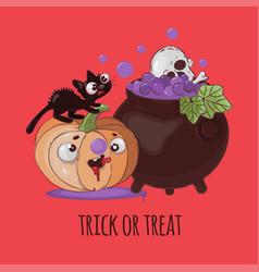 crazy cat halloween pumpkin cartoon vector image