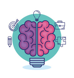 creative brain set icons vector image