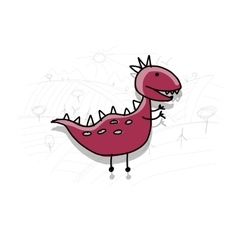 Dinosaur funny sketch for your design vector image