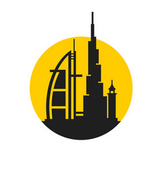 Dubai city skyline silhouette icon on white vector