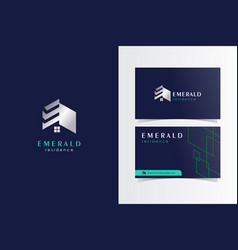 e house logotype with business card template vector image