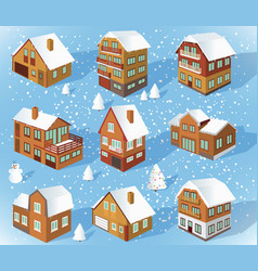 family houses winter vector image
