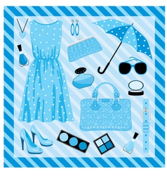 fashion set in blue tones vector image
