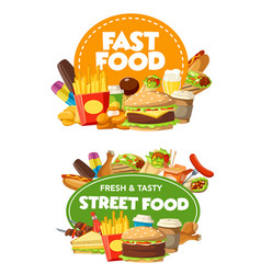 fast food burger sandwich snacks and drinks vector image