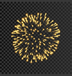 Firework gold bursting isolated transparent vector