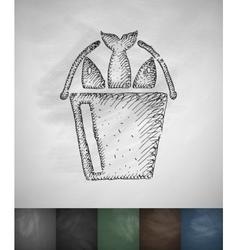 Fish icon Hand drawn vector