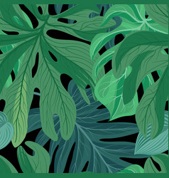 Floral abstract leaf tiled pattern tropical vector