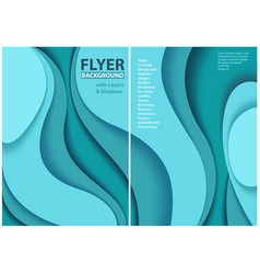 flyer paper cut style design with blue layers vector image