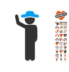 gentleman hitchhike icon with dating bonus vector image
