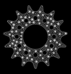 Glossy mesh network cog with light spots vector