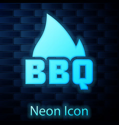 glowing neon barbecue fire flame icon isolated on vector image
