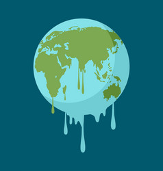 Graphic of a melting earth vector