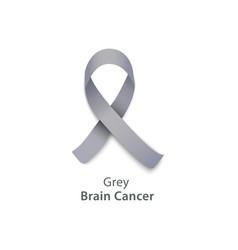 Grey ribbon for brain cancer awareness charity vector