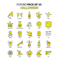 Halloween icon set yellow futuro latest design vector