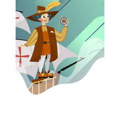 happy columbus day poster with great spanish vector image