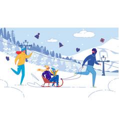 happy family with children winter outdoor activity vector image