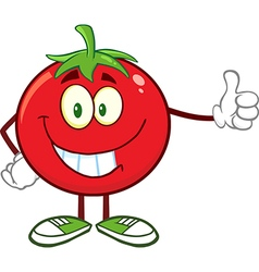 Happy tomato cartoon giving the thumbs up vector